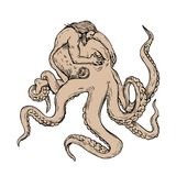 Hercules Fighting Giant Octopus Drawing. Drawing sketch style illustration of Hercules or Heracles, a Greek or Roman hero and god, fighting a giant octopus, an Royalty Free Illustration