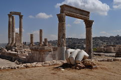 Hercules hand and temple. In Amman,Jordan Royalty Free Stock Images