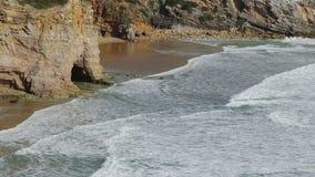 Hercules macha w burzy w Sagres algarve plażowy bispo costa robi murra vicentina o Portugal Vila zdjęcie wideo