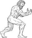 Hercules pushing side. Hand drawing illustration of Hercules pushing isolated on white Royalty Free Illustration
