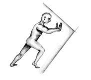 Hercules pushing a wall. Black and white hand drawn illustration of Hercules pushing a wall Royalty Free Stock Photo