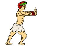 Hercules pushing a wall. Coloured illustration of Hercules pushing a wall Vector Illustration