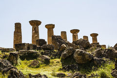 Hercules Temple ancient columns, Italy, Sicily, Agrigento Stock Images