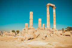 Hercules Temple remains on Amman Citadel hill, Jordan. Ancient ruins. Travel concept. Tourist attraction. Sightseeing tour. Famous. Photo of the Hercules Temple Royalty Free Stock Images