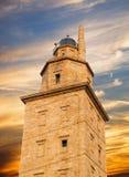 Hercules torndetalj i La Coruna, Spanien. Arkivfoto