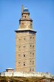 Hercules Tower i La Coruna, Spanien Arkivbild
