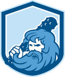 Hercules Wielding Club Shield Retro Stockbilder