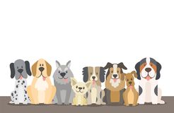 Herd of dogs sitting at the floor background illustration. Herd of dogs background illustration with editable blank space. Sat dogs in front view position Royalty Free Stock Images