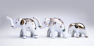 Herd of elephant ceramic, product from Thailand. Royalty Free Stock Image