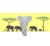 Herd of elephants. With trees illustration Stock Image