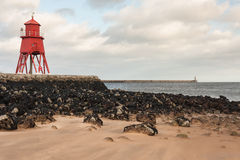 Herd Groyne lighthouse in South Shields Royalty Free Stock Photo