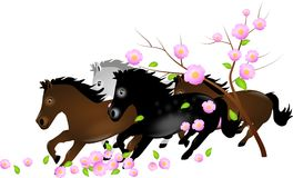 Herd of horses running in falling blooms of tree Royalty Free Stock Photos