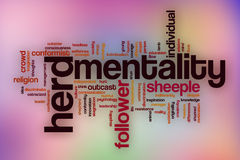 Herd mentality word cloud with abstract background Royalty Free Stock Photos