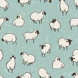Herd of sheep. Seamless vector pattern Stock Photography