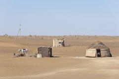 Herde dwelling i den Kyzyl Kum öknen arkivfoton