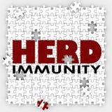 Herden-Immunitäts-Impfpuzzlespiel schützen Gemeinschaftsgesellschaft Lizenzfreie Stockfotografie