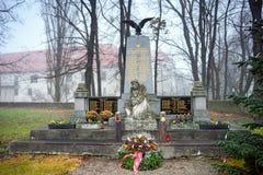 Herdenkings complex gewijd aan de gevallen militairen die tijdens de Eerste en Tweede Wereldoorlog stierven Guntersdorf, Lager Eu Royalty-vrije Stock Fotografie