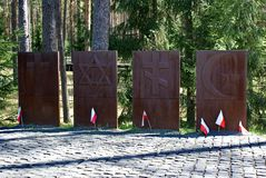 Herdenkings complexe ?Katyn ?- een internationaal gedenkteken aan slachtoffers van politieke onderdrukking Het wordt gevestigd in royalty-vrije stock fotografie