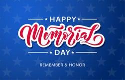 Herdenkings Dag Herinner me en eer Het vectorillustratiehand getrokken tekst van letters voorzien met sterren voor Memorial Day i vector illustratie