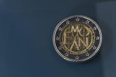 Herdenkings 2 EUR muntstuk Emona, Slovenië Stock Foto