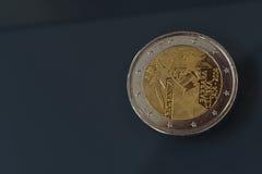Herdenkings 2 EUR muntstuk 600ste verjaardag van kroning, Barbara Celjska, Slovenië stock afbeelding