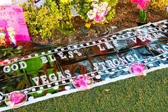 Herdenkingsbericht van Las Vegas die slachtoffers schieten stock afbeeldingen