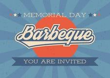 Herdenkingsdagachtergrond Vectorillustratie met tekst en lint voor retro affiches, vliegers Barbecueuitnodiging Royalty-vrije Stock Afbeelding