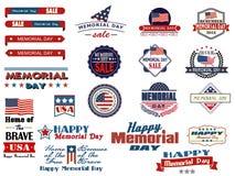 Herdenkingsdas verkoopkentekens en stickers Royalty-vrije Stock Afbeelding