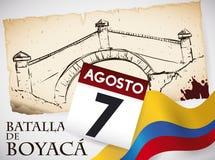 Herdenkingshand Getrokken de Brugoriëntatiepunt van Boyaca ` s, Kalender en Columbiaanse Vlag, Vectorillustratie royalty-vrije illustratie