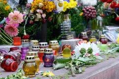 Herdenkingskaarsen bij Maidan-vierkant, Kiev, de Oekraïne Stock Afbeeldingen