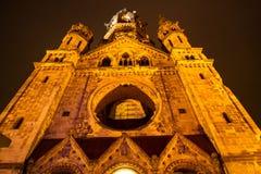Herdenkingskaiser Wilhelm Church bij nacht Stock Afbeeldingen