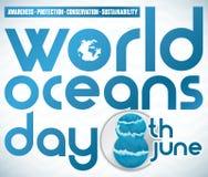 Herdenkingsontwerp met Voorschriften en Datum voor de Dag van Wereldoceanen, Vectorillustratie vector illustratie