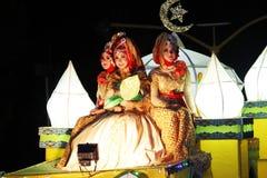 Herdenkingsparade Eid 1 Syawal 1435 de stad van H Nganjuk, Oost-Java, Ind. Stock Foto