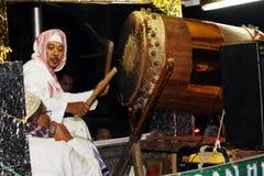 Herdenkingsparade Eid 1 Syawal 1435 de stad van H Nganjuk, Oost-Java, Ind. royalty-vrije stock fotografie