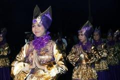 Herdenkingsparade Eid 1 Syawal 1435 de stad van H Nganjuk, Oost-Java, Ind. Stock Afbeelding