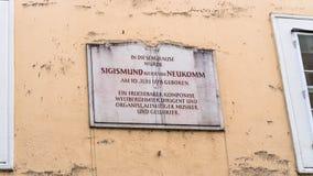 Herdenkingstablet op het huis waar Sigismund Ritter von Neukomm Stock Fotografie