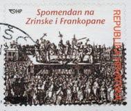Herdenkingszegel gewijd die aan Zrinski en Frankopan in Kroatië wordt gedrukt Stock Foto
