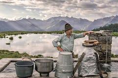 Herder in de Alpen Stock Afbeeldingen