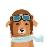 Herder Dog In Retro ProefHat Geïsoleerd op wit Proefhelmet kids Vechter ProefHelmet vector illustratie