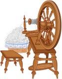 Herder Spinning Wheel en Stoel stock illustratie