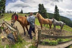 Herders en schapen de Karpaten Royalty-vrije Stock Afbeelding