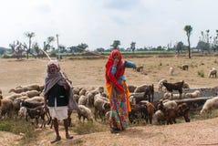 Herders langs de weg in de woestijn van Rajasthan stock foto