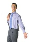 Here we are. Business man with open arms Royalty Free Stock Image