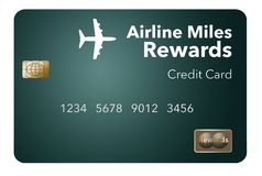 Here is an airlines rewards credit card, a frequent flier credit card. This is an illustration stock illustration
