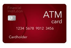 Here is an ATM card which is shown with a debit card which is often thought to be the same as an ATM but it is not. This is an illustration stock illustration