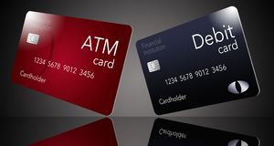 Here is an ATM card which is shown with a debit card which is often thought to be the same as an ATM but it is not. This is an illustration royalty free illustration