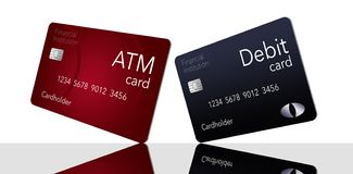 Here is an ATM card which is shown with a debit card which is often thought to be the same as an ATM but it is not. This is an illustration vector illustration