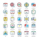 Set Of Digital and Internet Marketing Flat Vector Icons. Here is an awesome set of Internet and digital marketing  icons that is great for marketing and Royalty Free Stock Photo