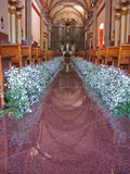 Here Comes the Bride. Church Prepared for Wedding Royalty Free Stock Photos