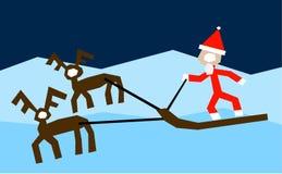 Here Comes Santa. Santa Claus riding deer sledge Royalty Free Stock Photography